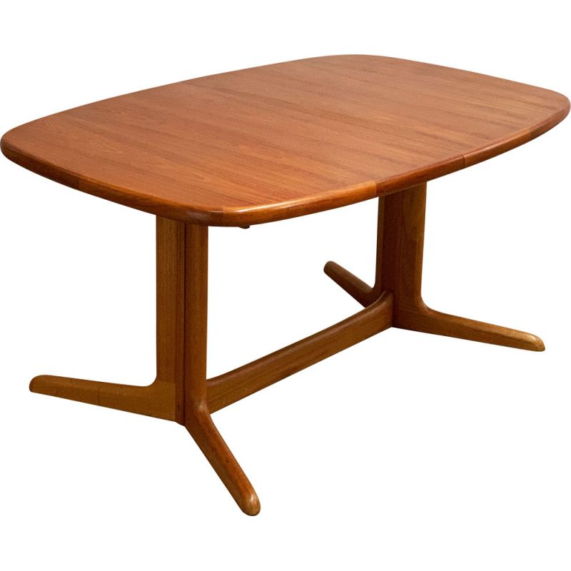 Mid Century  Oval extendable Teak Dining Table by Rasmus Danish