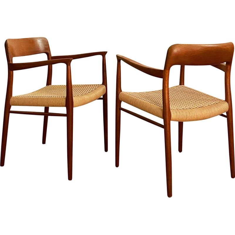 Pair of Mid Century Teak Armrest Chair, Model 56 by Niels O. Møller for J.L. Moller