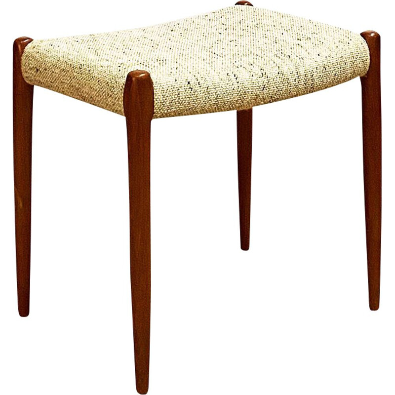 Mid Century  Teak Stool, Model 80A by Niels O. Møller with Woolen Upholstery for J.L. Moller