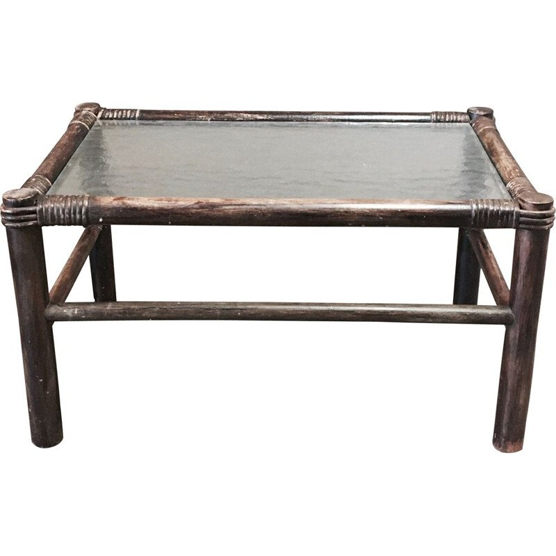 Vintage rectangular coffee table rattan 1950