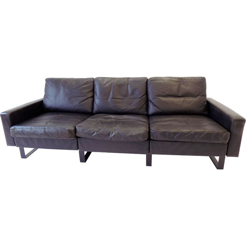Vintage 3 seater sofa black leather Cor Conseta 1963
