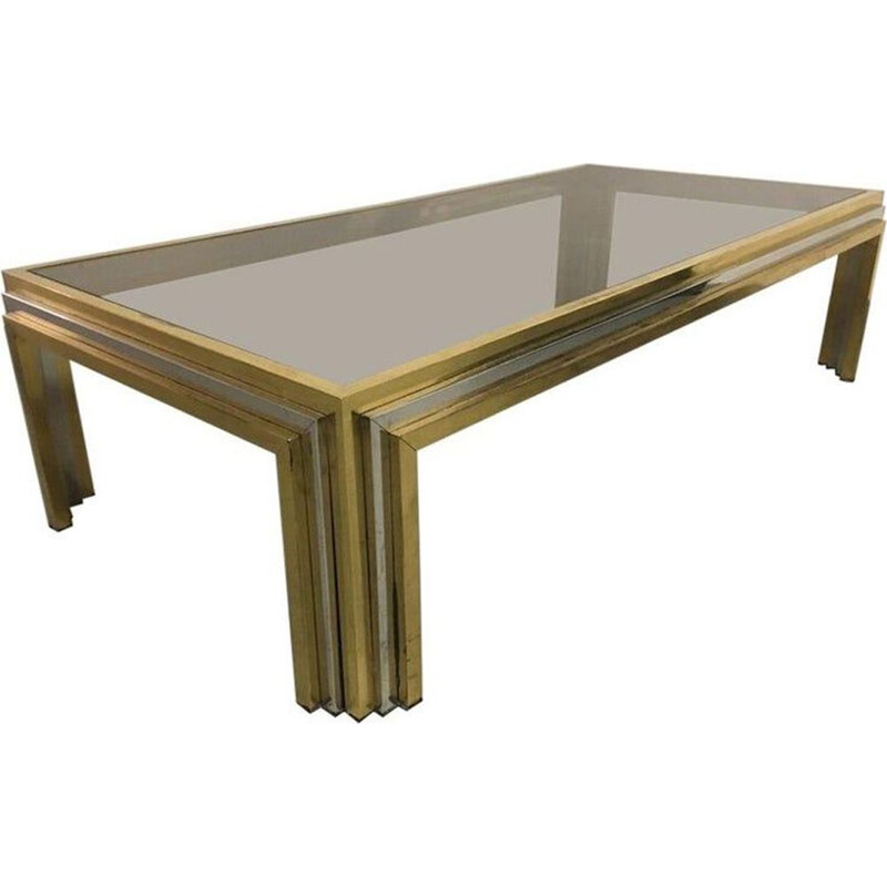 Vintage coffee table in brass and stainless steel Romeo Rega 1970