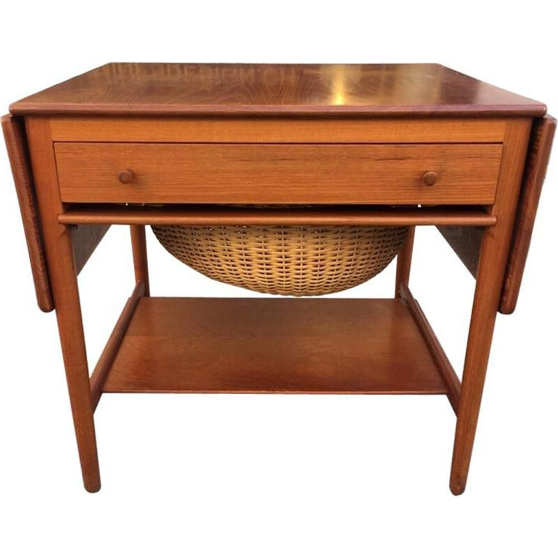 Vintage teak sewing table AT-33 Hans J. Wegner 1960