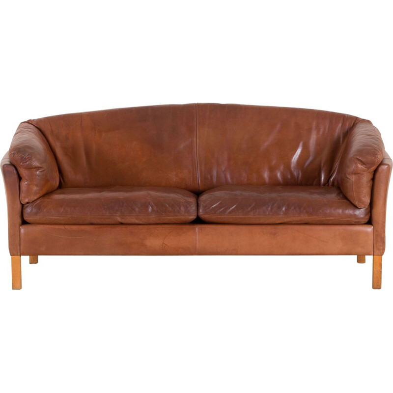 Vintage 2,5 seater cognac leather sofa Mogens Hansen 1970