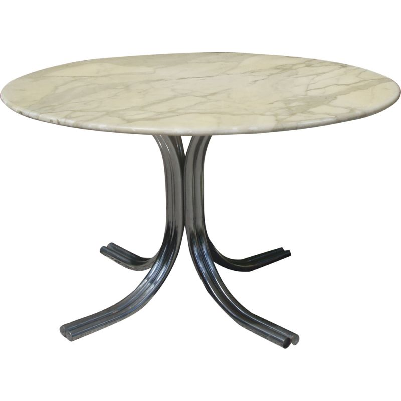 Vintage round table in Carrara marble