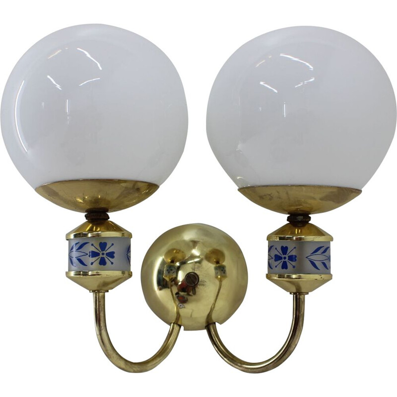 Pair of 1970 brass vintage wall sconces