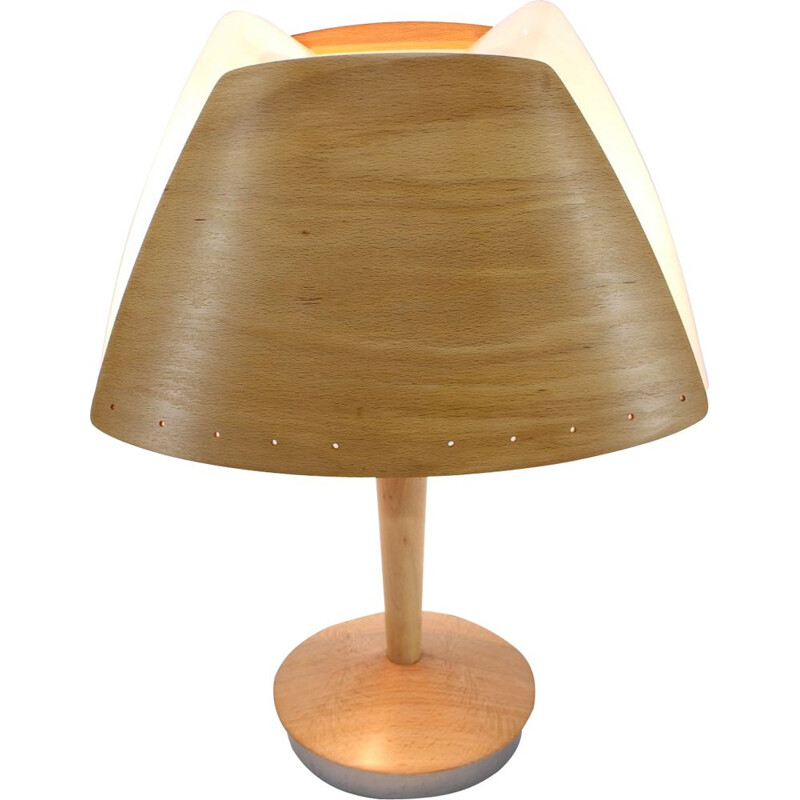 Midcentury wooden Table Lamp by Lucid  french 1970s