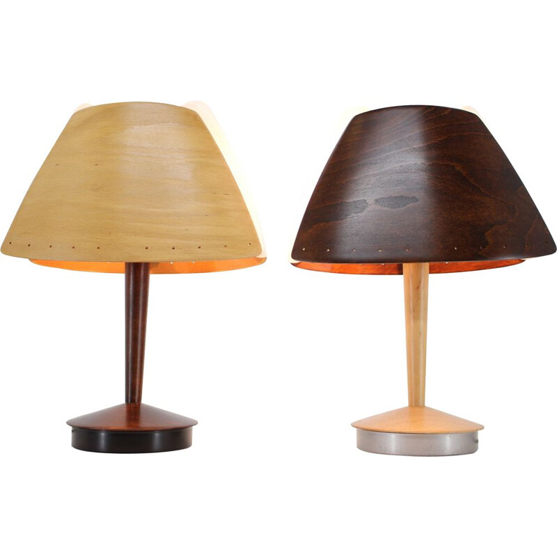 Pair of Midcentury wooden Table Lamp by Lucid  french 1970s