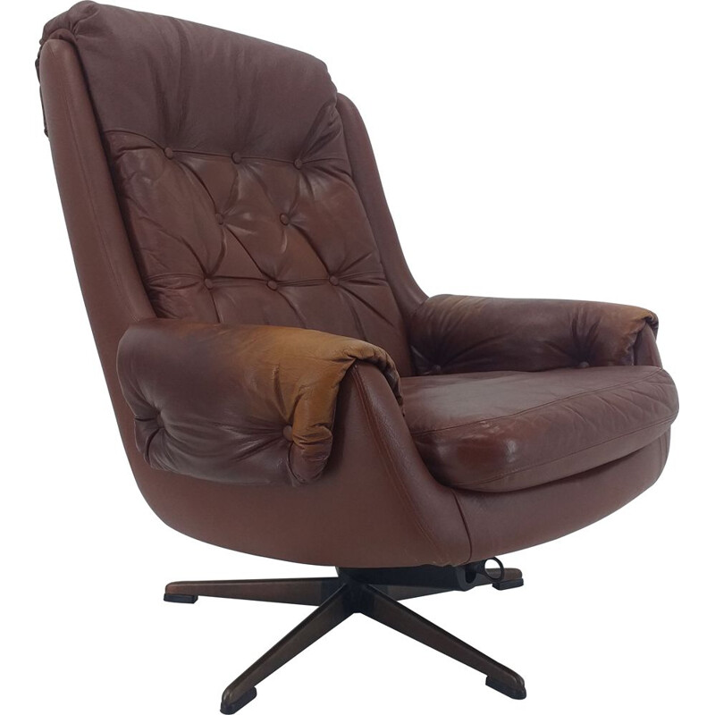 Mid Century Swivel Leather Armchair, PeeM, Finland, 1970s