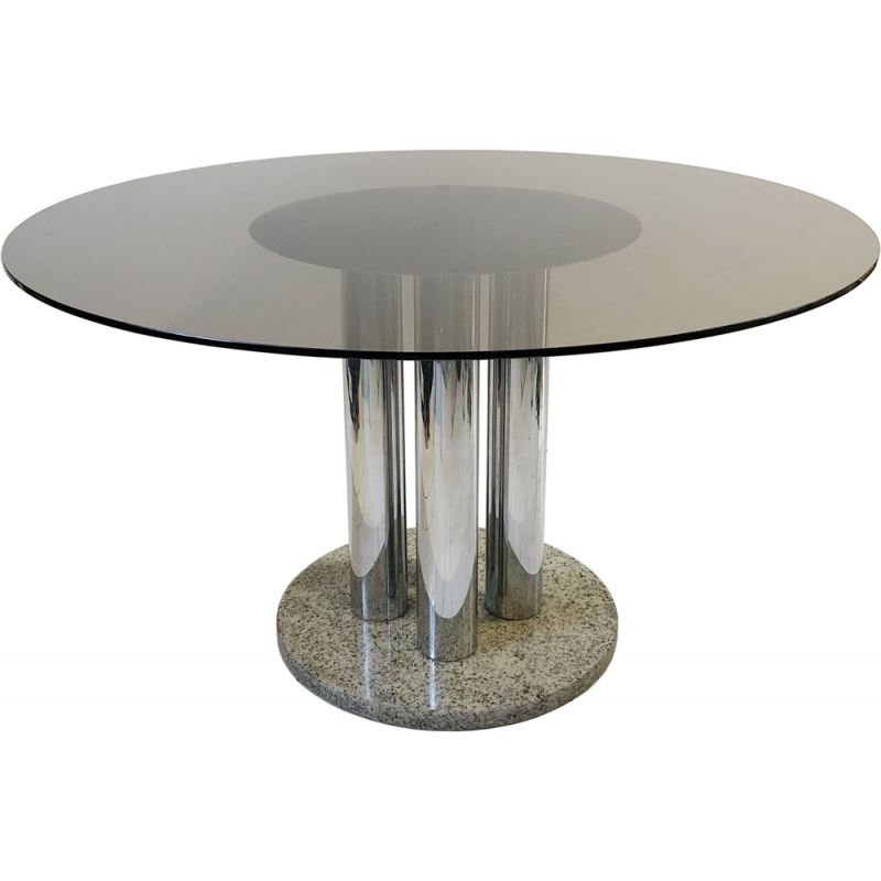 Vintage Dining Table Smoked Glass Zanotta Chrome And Granite Circular Space Age Marble Hollywood Regency 1970
