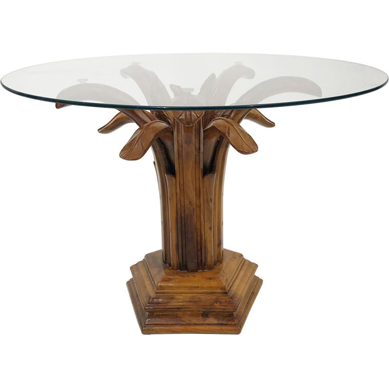 Midcentury Side Table Hollywood Regency Glass Carved Burl Wood Palm Tree 1980s
