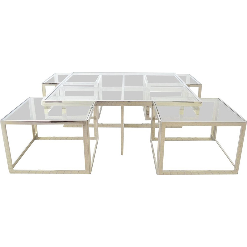 Vintage Chrome coffee table with 4 nesting tables Maison Charles hollywood regency