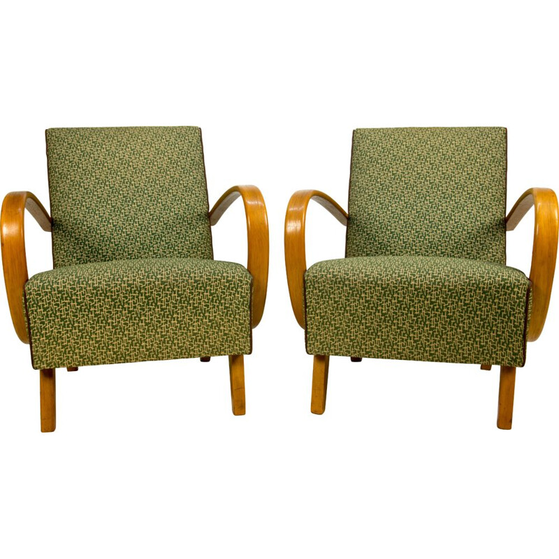 Pair of vintage Armchairs by Halabala in Perfect Original Condition, 1950s