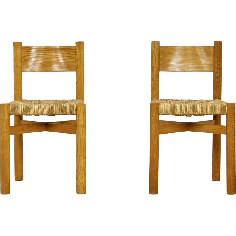 Set of 2 Meribel Chairs by Charlotte Perriand, 1950s