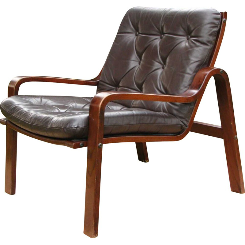 Vintage leather armchair Scandinavian