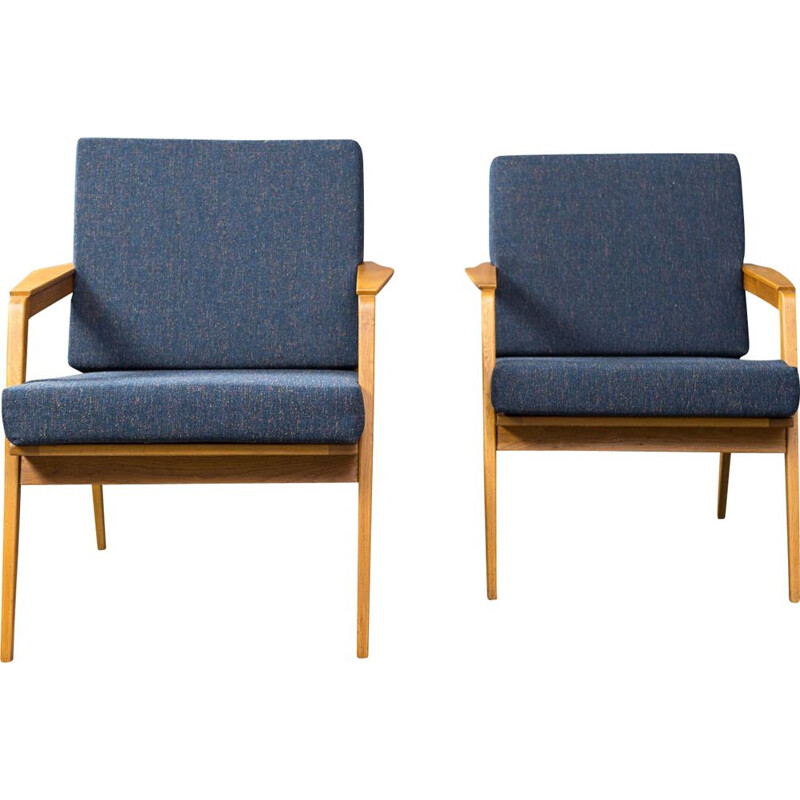 Pair of Vintage Armchairs in Ash and Czechoslovakian Drevotex blue fabric 1960s