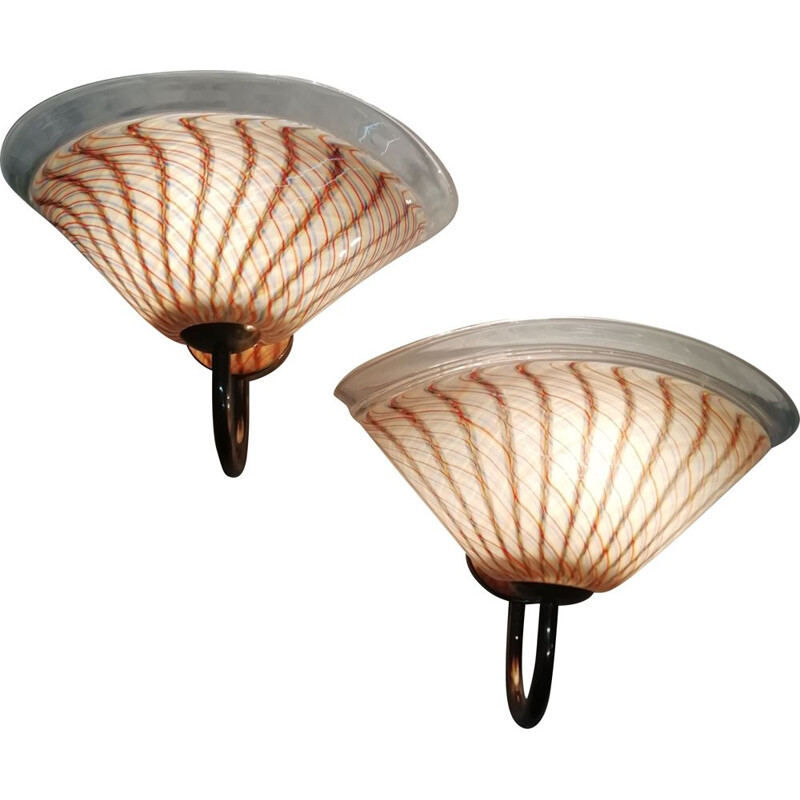 Pair of Vintage Murano glass wall sconces