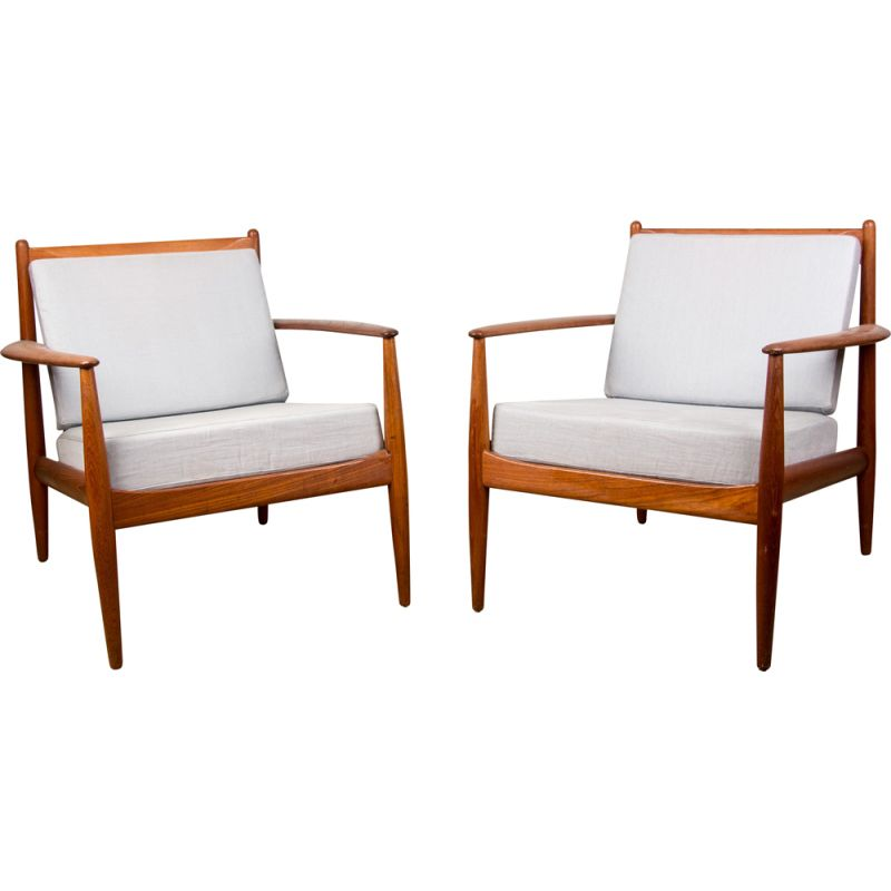 Pair of Vintage Teak Armchairs by Grete Jalk for France & Son Danish 1963