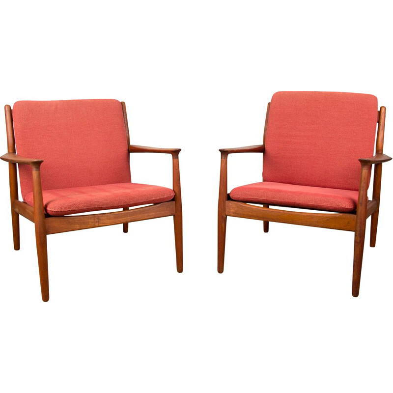 Pair of Vintage Teak Armchairs GM5 by Svend Age Eriksen Danish 1960