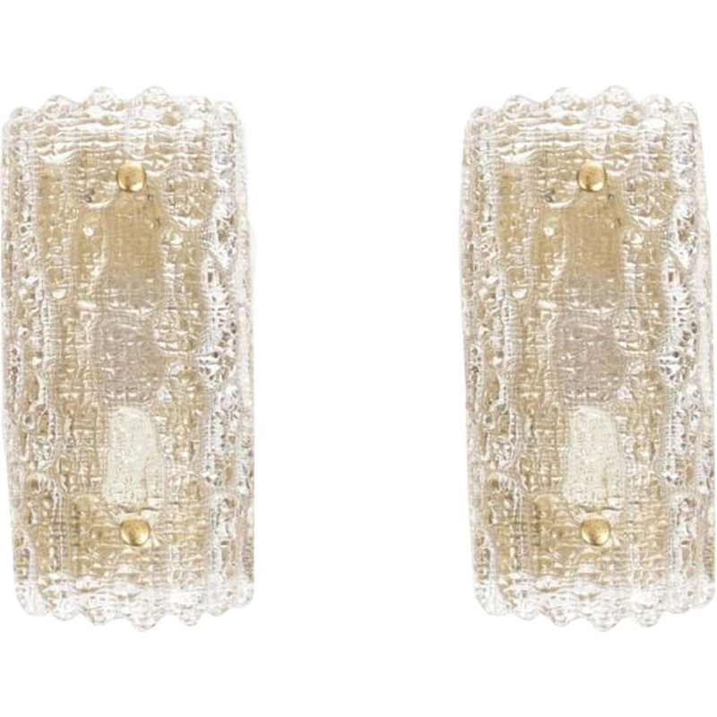 Pair of vintage Scandinavian crystal wall lights