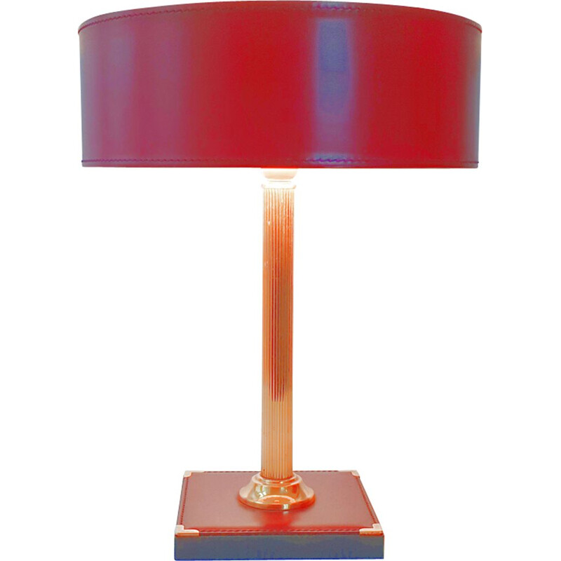 Vintage leather table lamp 1970