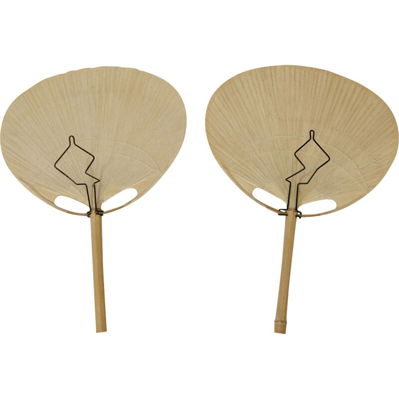 Pair of vintage Uchiwa sconces by Ingo Maurer, 1970