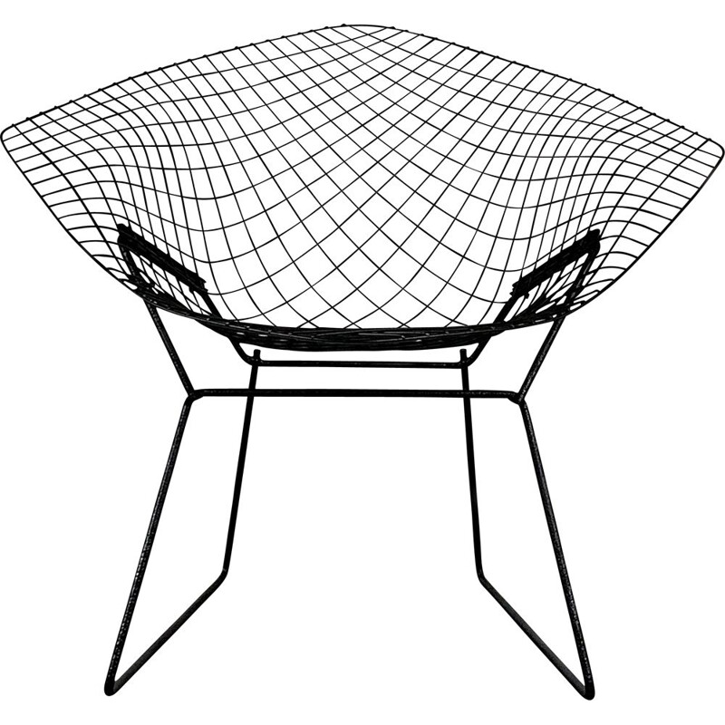 Vintage Black Diamond Chair by Harry Bertoia for Knoll, 1970s