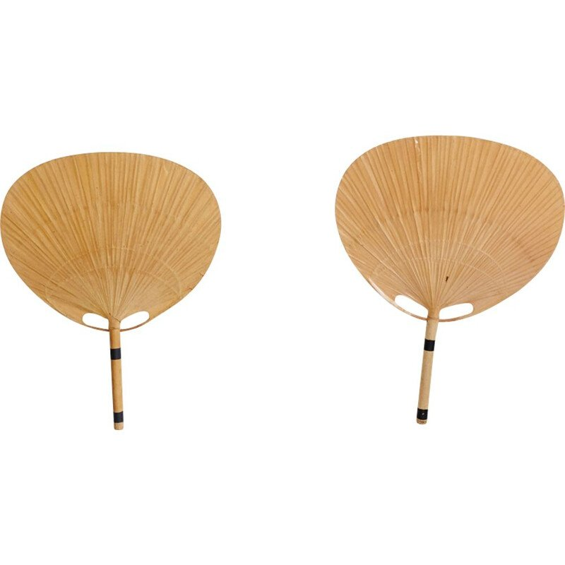 Pair of large vintage Uchiwa sconces, Ingo Maurer, 1970