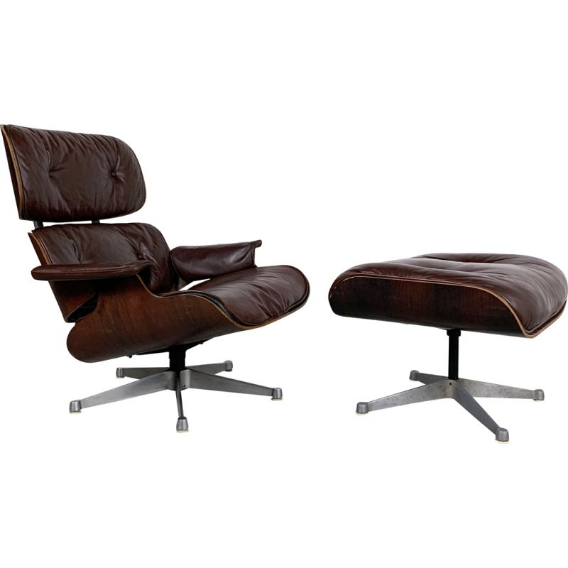 Vintage Eames Lounge Chair plus Ottoman by ICF for Herman Miller, 1960s