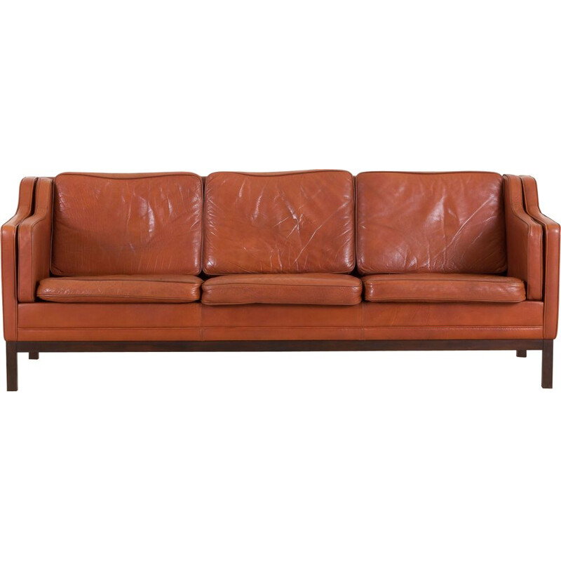 Vintage 3 seater brown leather sofa in Borge Mogensen Danish