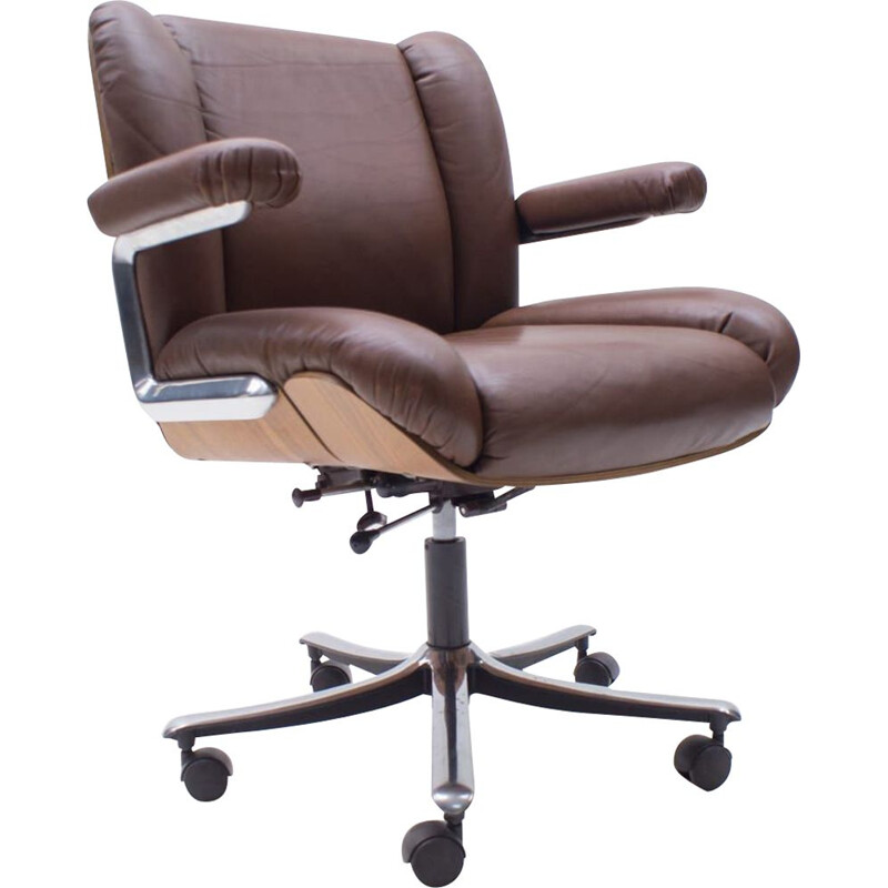 Vintage Leather and Plywood Swivel Desk Chair by Stoll for Giroflex, Swiss 1960s