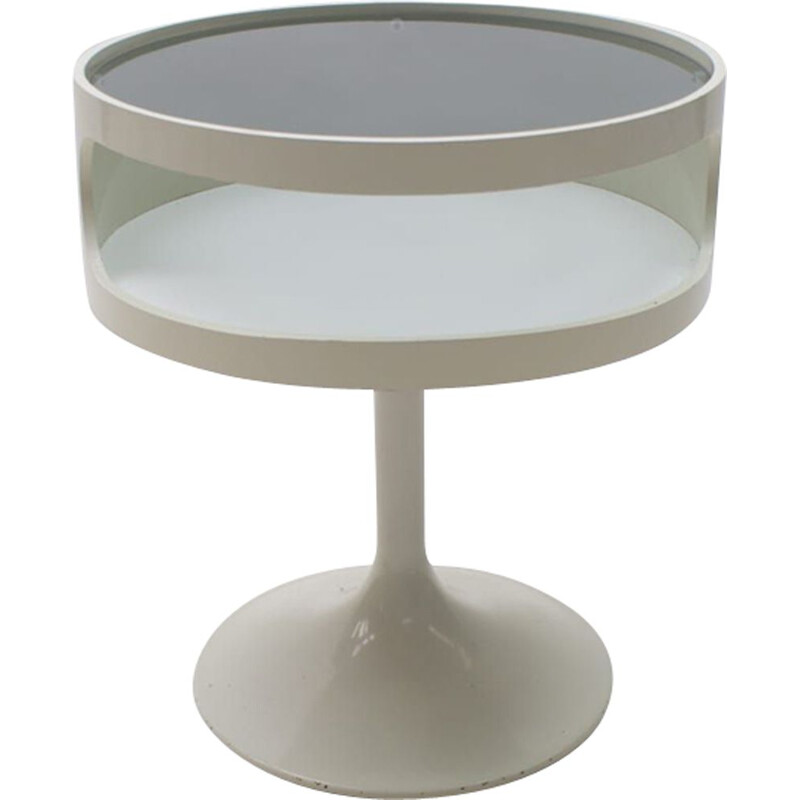Vintage Side Table with Blue Glass from Opal Möbel, Germany, 1970s