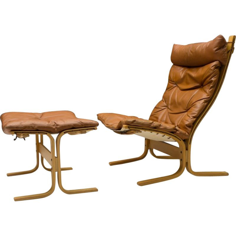 Vintage Leather Armchair and Footstool Set by Ingmar Relling for Westnofa, 1960s