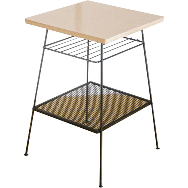 Vintage side table Formica and painted metal, France, 1960s