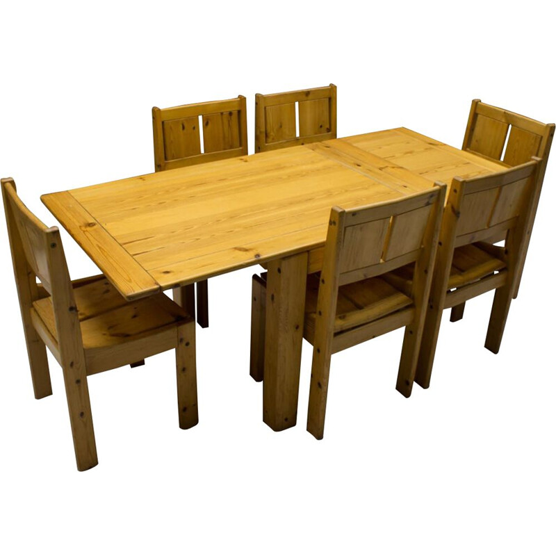Set of 7 vintage Pinewood Dining Table and Chairs Set from Vilka, Finnish 1960s