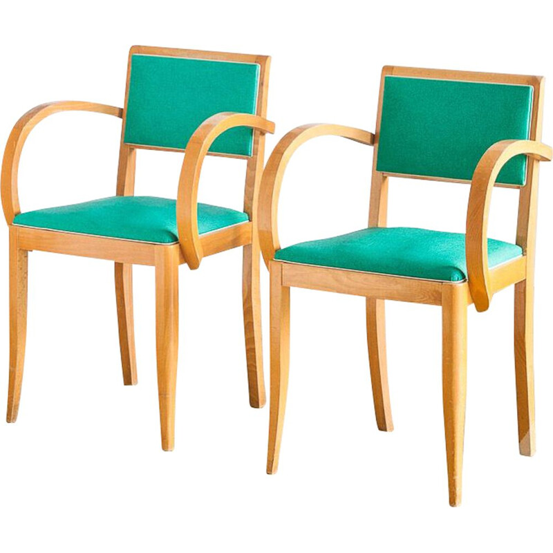 Pair of vintage bridge chairs Beech wood and skai France, 1960