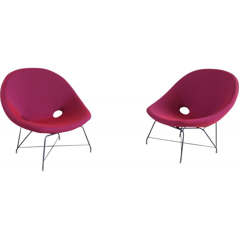 Pair of vintage Cosmos Chairs in Ruby red by Augusto Bozzi for Saporiti 1954