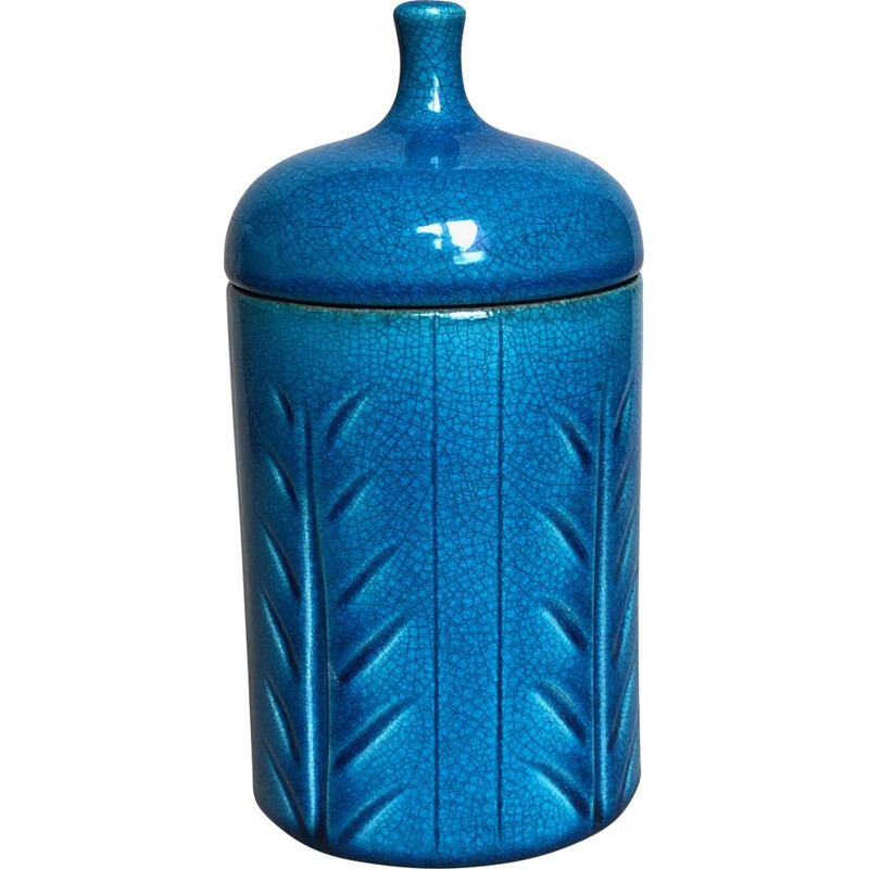 Vintage blue ceramic box Pol Chambost 1960