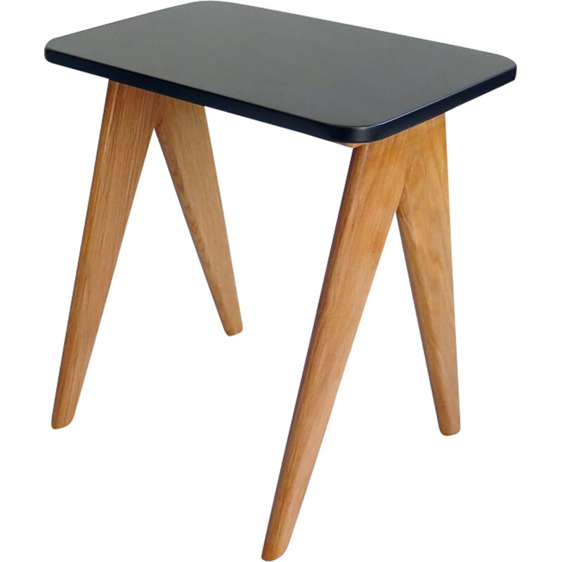 Vintage black lacquered and oak side table