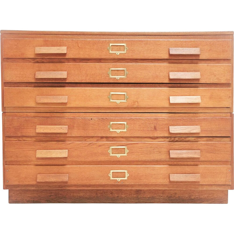 Vintage Made Oak Plan Chest of Drawers Artists Map Table British 1940s