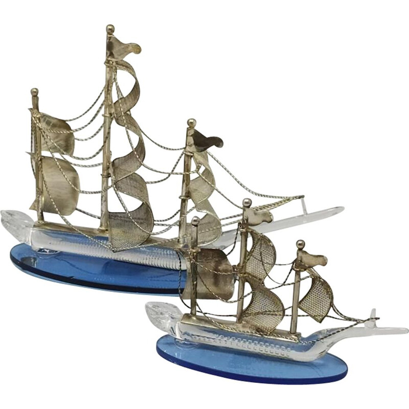 Pair of vintage handmade metal and Murano glass sailing ships 1960s