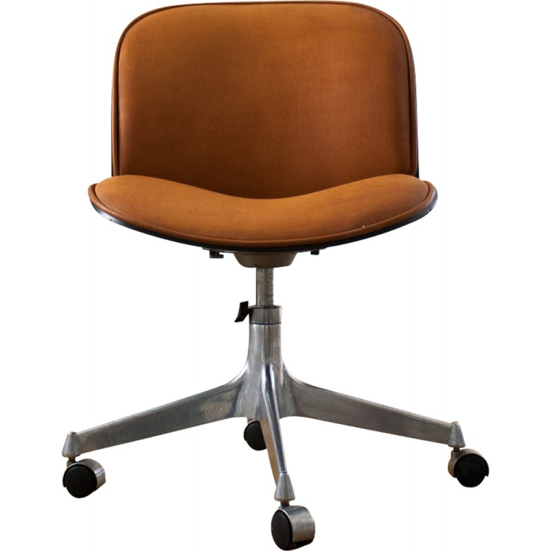 M.I.M. Roma Mid Century Swivel Chair In Iron, Leather And Wood, Ico PARISI