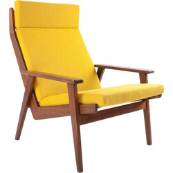 "Gelderland ""Lotus"" armchair in wood and yellow fabric, Rob PARRY - 1950s"