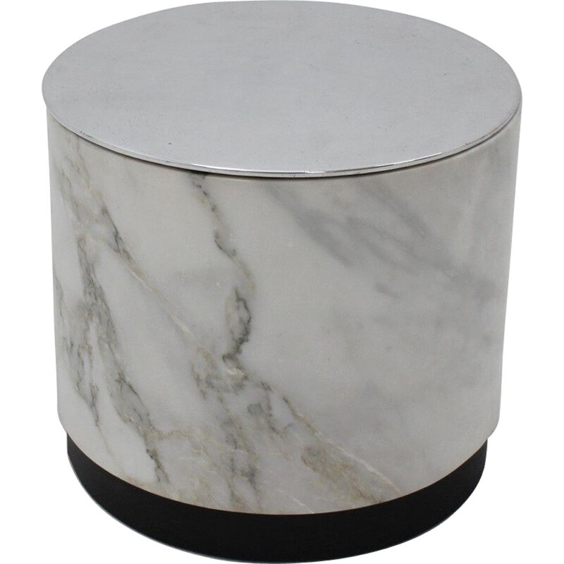 Vintage Container marble pouf, Italy 1970s
