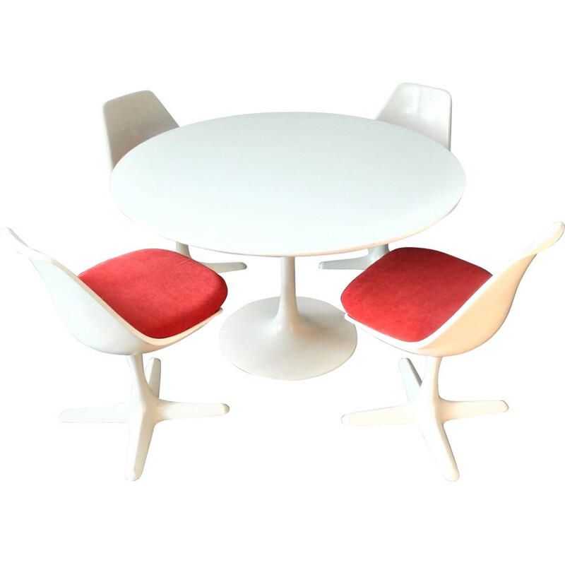 Set of 5 vintage Tulip Dining Table & Chairs Set by Maurice Burke for Arkana, England, 1960s