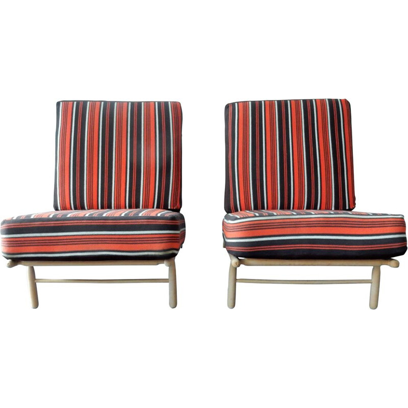 Pair of Mid-Century Lounge Chairs by Alf Svensson for Dux, Swedish 1950s