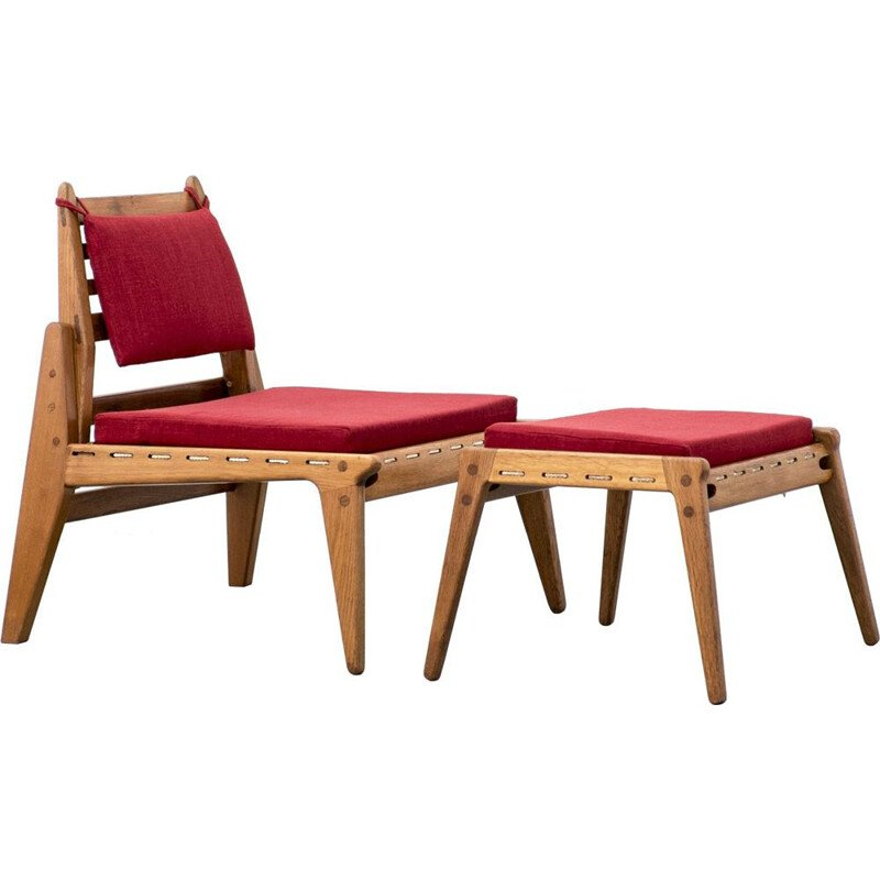 Mid-century lounge chair and ottoman from DWH 1950s