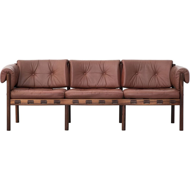 Vintage Leather aned rosewood model 925 sofa by Sven Ellekaer for Coja 1963