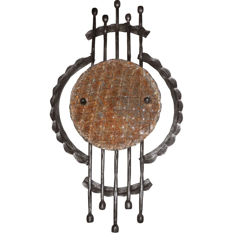 Vintage Brutalist Wrought Iron and Murano Glass Wall Light, 1950s