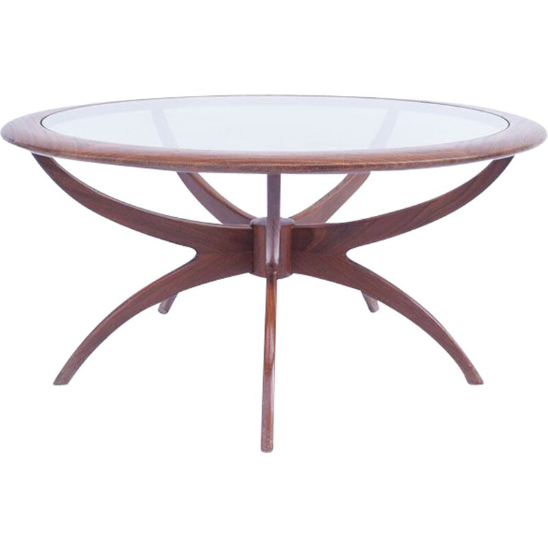 Vintage round coffee table Spider scandinave 1960